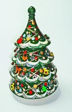 Rotating Russian Enamel Musical Christmas Tree