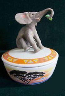 Baby Elephant Porcelain Music Box