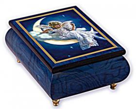 Moon Beam Angel on Cresent Moon Graces Blue Music Box