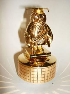 24K Gold Plated rotating Graduation owl musical figurine