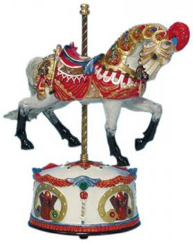 dapple grey carousel horse with red roman armor-like tack