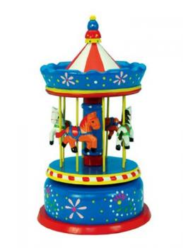 """Red White and Blue 11.5"""" wooden carousel"""
