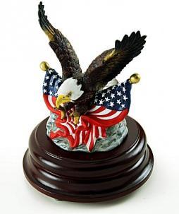 EAgle figurine with American flag