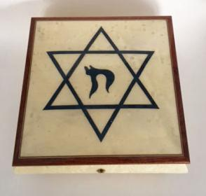Blue Star of David and Chai on White Music Box