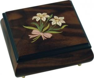 Walnut music box with two edelweiss tied with ribbon