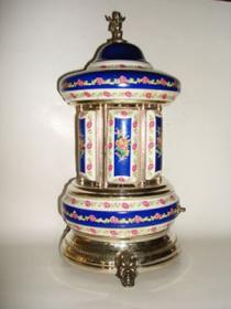 Blue with pink rose bud pattern on white Sevres Style Reuge Carousel Moaque