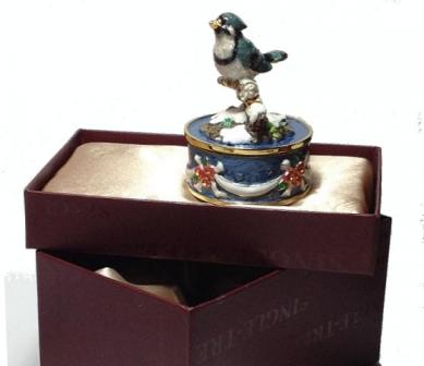 little blue jay revolving Musical figurine