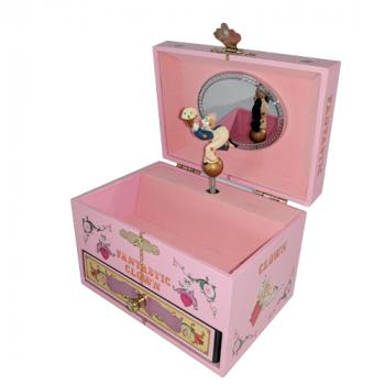 Koji Murai Jewelry Box with Drawer and Twirling Clown in Pink