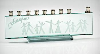 DAncers etched on Glass Menorah