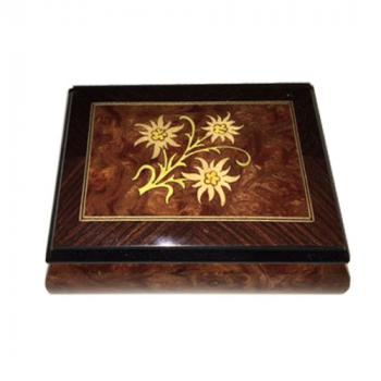 walnut and elm music box with edelweiss inlay