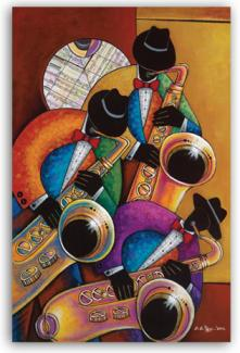 Colorful Modern style SaxTrio Art on Canvas