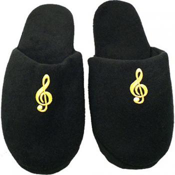 Black Slippers with G Clef