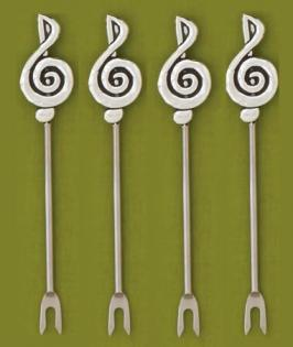 Hors D'oeurvre Picks with G Clefs (set of 4)