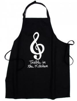 "Musicians Black Apron says ""Treble In The Kitchen"""