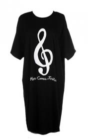 Here comes treble written in white with G Clef sign on Black Night Shirt