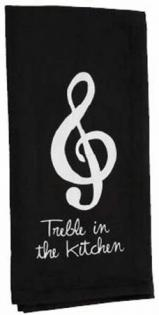 """Musician's black Tea Towel that says """"Treble in the Kitchen"""""""