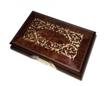 High Gloss Walnut Musical Box with Clock
