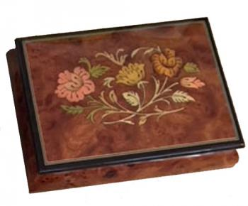 Italian inlaid floral pattern on elm music box