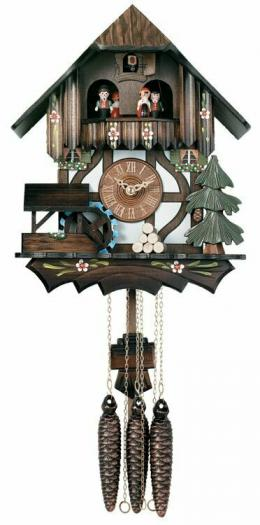 Musical Cuckoo Clock with Dancers and Moving Waterwheel
