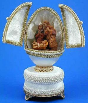 The Nativity Scene in a Musical Egg by Kingspoint Designs