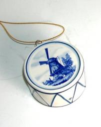 Delft Blue Miniature Marching Drum Ornament
