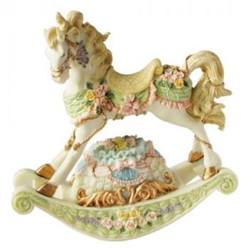Carousel Rocking Horse with flowers in pastel colors