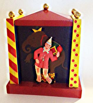 Colorful Reuge Vintage animated clown music Box