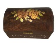Floral inlay on Dome Trunk Music Box