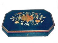 Large Blue Music Box with Floral Inlay