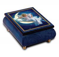 Moonbeam by Sandra Kuck graces the lid of this Blue Ercolano Music Box