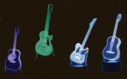 Grouping of four different Acrylic LED Guitar styled lamps