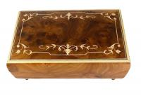 Italian Elm Music Box with Scroll Work Marquetry and Twirling Ballerina