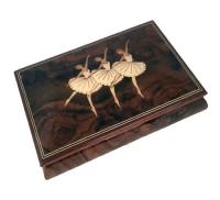 Wood Inlay by Ercolano Three Ballerinas on Dark Elm Musical Box(1.18)