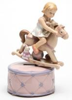 Girl on a Rocking Horse musical figurine animated
