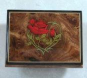 Burled Elm music box with leafy heart and red rose