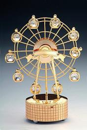 24K Gold Plated or Silver Plated Ferris Wheel with Austrian Crystals  Music Box Figurine