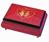 Wine Red Music box with Italian Two Swans and Heart inlay