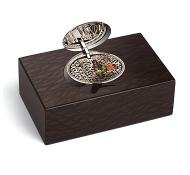 Reuge Collection Singing Bird Box Carbalho Black with Silver Lid