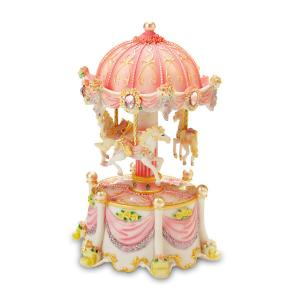 Pink Muscial Carousel Dreams 3 horse carousel with lights