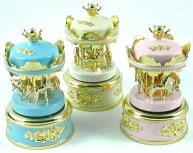 musical mini carousels in pink white or blue