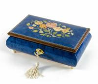 Inlaid Flowers on Royal Blue Musical Box