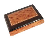 Italian two tone Elm Musical Box with rectangular pattern and Walnut Trim