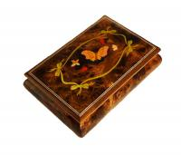 Italian Inlaid Butterfly and Friends on 30 note Elm Musical Box