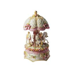 Carousel Dome Shaped Three Horse Music Box by Musicbox Kingdom