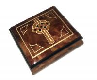 Celtic Cross Inlay on Burled Elm Music Box