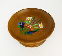 Beautifully turned and hand-painted Swiss Candy Dish
