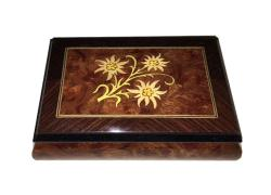 Edelweiss Inlay Music Box, Elm with Walnut Border