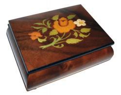 Floral Inlay on Dark Elm Musical Box