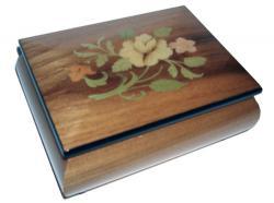 Floral Inlay on Light Elm Musical Box