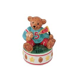 Porcelain Football Bear on Rotating Base